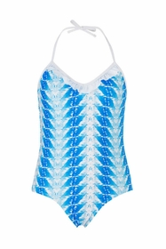 snapperrock blue feather swimsuit