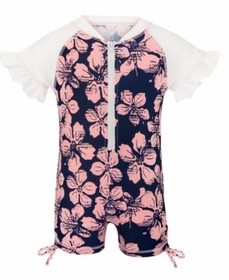 snapperrock hibiscus navy/ballet pink ss sunsuit