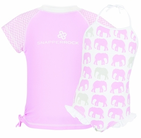 snapperrock pink elephant halter swimsuit with rash top
