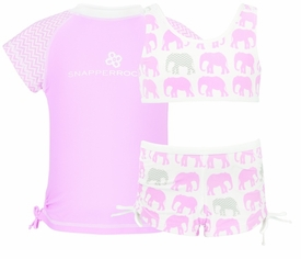 snapperrock pink elephant sports set with rash top