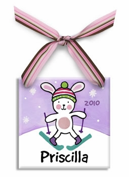 snow bunny christmas ornament (girl)