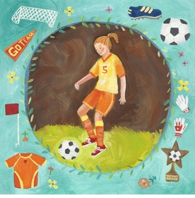 soccer star - girl wall art