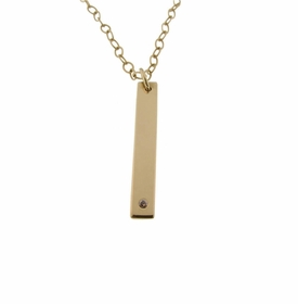 solid gold flat bar necklace with genuine diamond