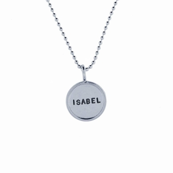 solid sterling silver rimmed name necklace