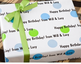 spring dots personalized gift wrap