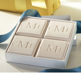 square carved personalized guest soaps