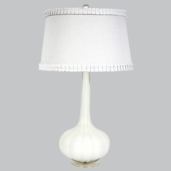 squash base white opaque lamp