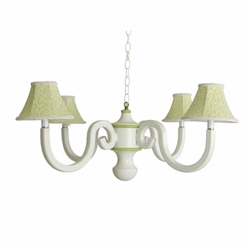 squiggles scroll four arm chandelier