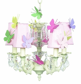 stacked glass ball chandelier with butterfly shades