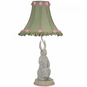 standing bunny lamp-green check rosebud shade - unavailable
