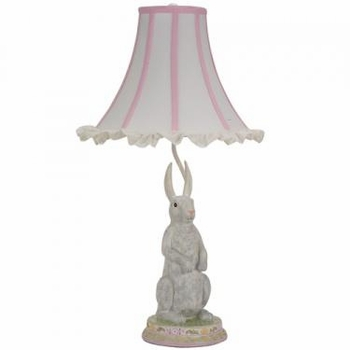 standing bunny lamp-pink ruffled edge shade - unavailable
