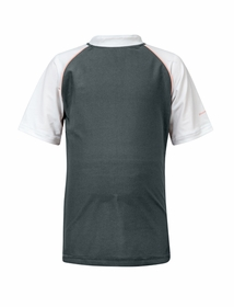 steel gray with coral piping short sleeve rash top