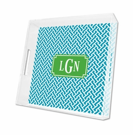 stella turquoise lucite tray - square