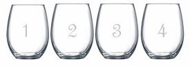 stemless numbered wine glasses