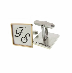 sterling silver and 14k gold rimmed square cuff links
