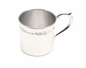 sterling silver floral baby cup