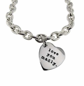 sterling silver heart pendant toggle bracelet