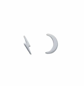 sterling silver lightning & moon stud earrings