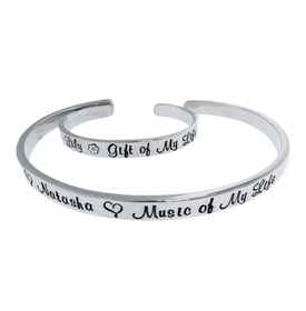 sterling silver mother and child cuff bracelets
