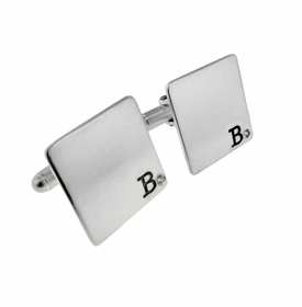 sterling silver square cuff links with diamonds