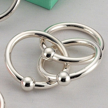 sterling silver triple ring rattle