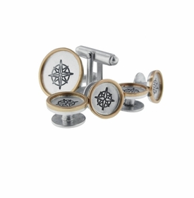 sterling silver with 14k gold rimmed shirt studs & cufflinks set