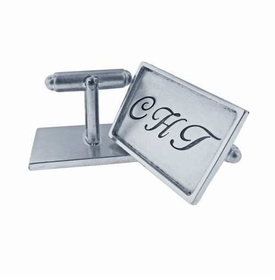 sterling silver with sterling silver rimmed rectangle cuff links