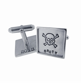 sterling silver with sterling silver rimmed square cuff links