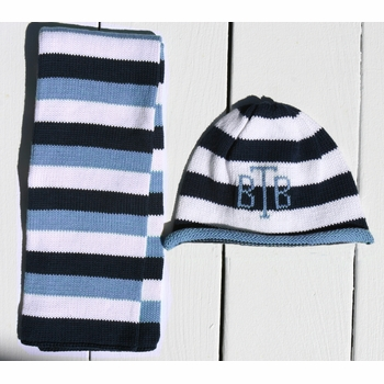 stripe beanie and scarf set