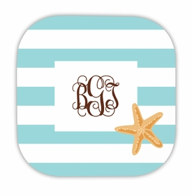 stripe starfish hardback rounded coaster<br>(set of 4)