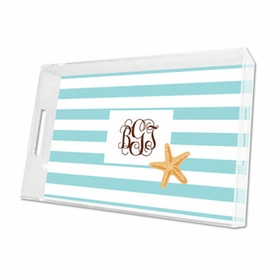 stripe starfish lucite tray - large