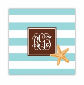 stripe starfish square paper coaster<br>set of 50