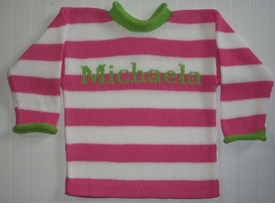 striped children's sweater with contrast cuffs and collar