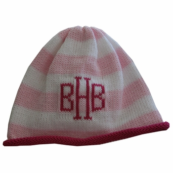 striped monogrammed beanie cap