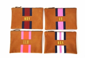 striped monogrammed leather flat clutch
