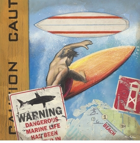 surf with caution wall art - unavailable