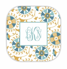 suzani gold hardback rounded coaster<br>(set of 4)
