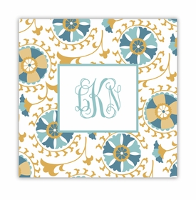 suzani gold square paper coaster<br>set of 50