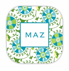 suzani teal hardback rounded coaster<br>(set of 4)