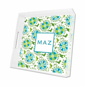 suzani teal lucite tray - square