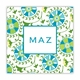 suzani teal square paper coaster<br>set of 50