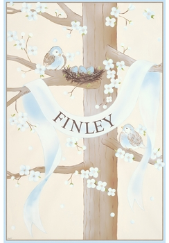sweet songbird spring nest blue personalized wall hanging