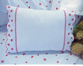 sweet william red star on stripe fitted crib sheet - currently unavailable