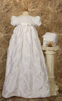 taffeta christening gown with rosettes