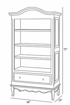 tall french bookcase - linen/gold gilding