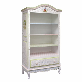 Tall French Bookcase Tone on Tone Crackle
