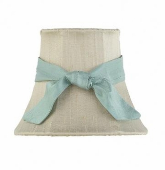 taupe chandelier shade-teal sash