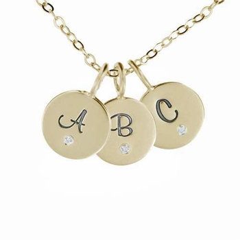 three 14k gold fancy initial charm necklace
