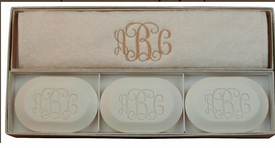 Three Bar Monogram Soap & Towel Gift Set