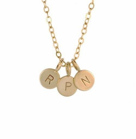three petite gold charm necklace